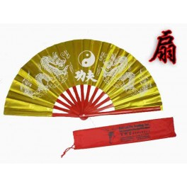 Bamboo Kung Fu Fan with case Gold