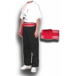 Wushu cord belt red with white decoration