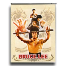 Bruce Lee's Wall Scroll Holding nunchaku with dragon back ground
