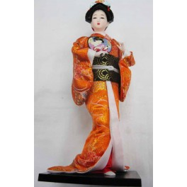 """12""""H Chinese Oriental Doll With Wooden Base Gold"""