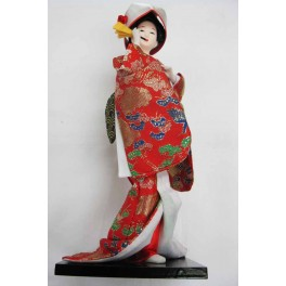 """12""""H Chinese Oriental Doll With Wooden Base Red"""
